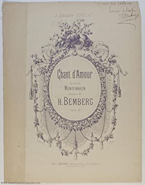 'Chant d'Amour' for mezzo-soprano or baritone, (Herman, 1859-1931, French Composer)
