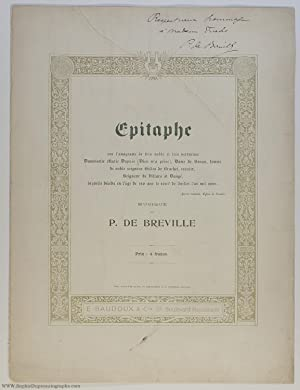 'Épitaphe', a charming setting for voice and piano, (Pierre de, 1861-1949, French Composer)