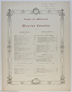 'La terre les eaux va buvant', mock-serious song for voice and piano, (Pierre de, 1861-1949, Fren...