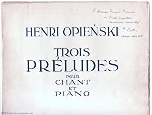 'Trois Préludes' for voice and piano, Op. 13, (Henryk, 1870-1942, Polish Conductor, Musicologist ...