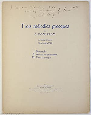 'Trois mélodies grecques', signed (George, 1892-1982, Greek Violinist, Conductor & Composer)