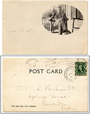 Round Vintage Paris Post Card Multicolored 6 Inches Cancelled Stamp