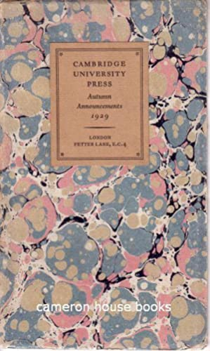 Cambridge University Press. Autumn Announcements 1929