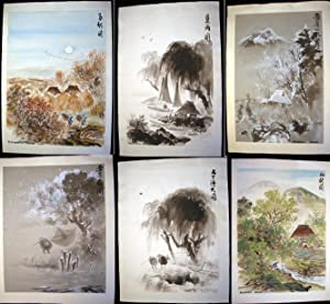 Circa 1950s Group of 6 Original Works of Art Signed By Katsutaro Furuya Including Watercolors and ...