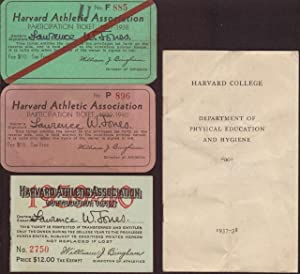 Two Harvard Athletic Association Participation Tickets 1937-8, 1939-40, One Contribution Ticket a...
