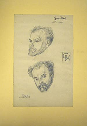 Collection of 23 portrait drawings and caricatures, all drawn