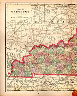 MAP:'Kentucky'.From Cram's Superior Reference Atlas of Kansas: Cram, George F.