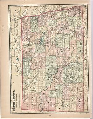 "MAP: ""North Dakota"".From Cram's Superior Reference Atlas: Cram, George F"