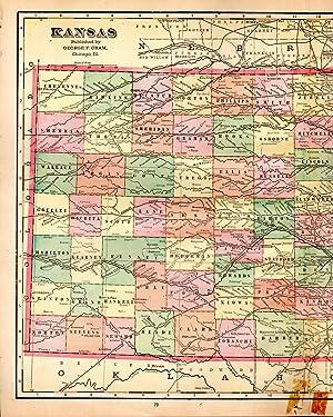 MAP:'Kansas'.From Cram's Superior Reference Atlas of Kansas: Cram, George F