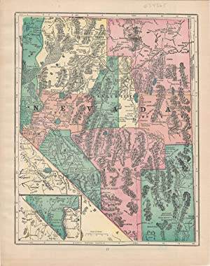 """MAP: """"Nevada"""".From Cram's Superior Reference Atlas of: Cram, George F"""