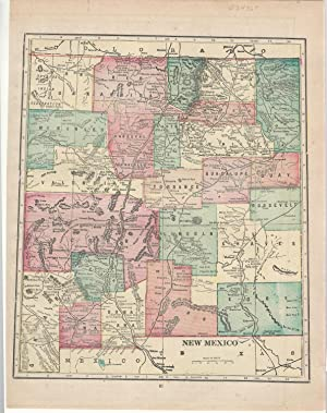 MAP: 'New Mexico'.From Cram's Superior Reference Atlas: Cram, George F