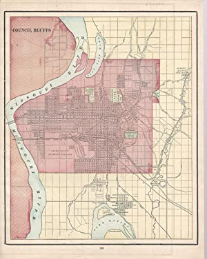 """MAP: """"Council Bluffs, Iowa"""".From Cram's Superior Reference: Cram, George F"""