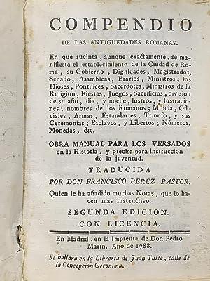 Compendio de las Antigüedades Romanas. Obra Manual: Pérez Pastor, Francisco