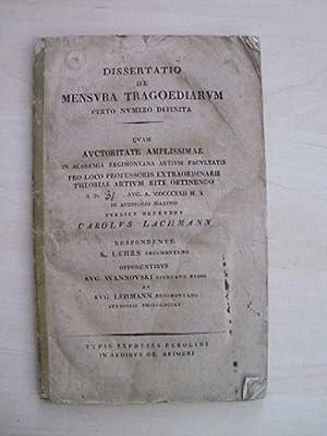 Dissertatio de Mensura Tragoediarum certo numero definita. Quam auctoritate amplissimae in Academia...