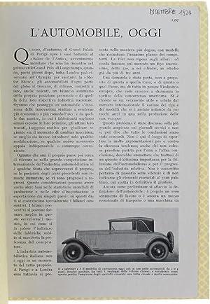 """L'AUTOMOBILE, OGGI. Stralcio da """"LE VIE D'ITALIA"""",: Rosetti Doro."""