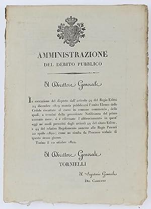 Immagine del venditore per AMMINISTRAZIONE DEL DEBITO PUBBLICO. Torino, 10 ottobre 1822.: venduto da Bergoglio Libri d'Epoca
