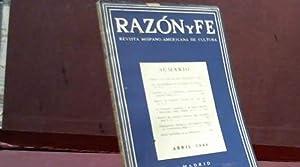 RAZON Y FE REVISTA HISPANO-AMERICANA DE CULTURA