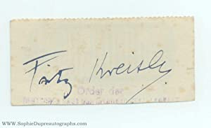 Signature on fragment of a Midland Bank cheque, (Fritz, 1875-1962, Austrian-born Violinist)