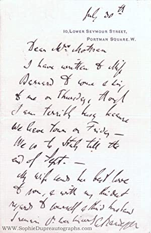 Autograph Letter Signed to Mrs Mottram, (Alberto, 1832-1911, Trieste-born Composer, Teacher, and ...