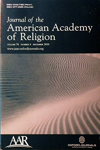 Journal of the American Academy of Religion: Authors contributing articles: