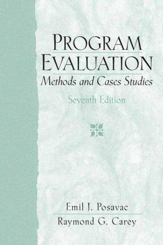 9780000220158: Program Evaluation : Methods and Cases Studies - By Posavac : Carey - 7TH SEVENTH EDITION