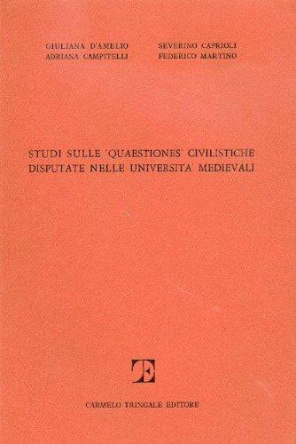 9780000991089: studi sulle quaestiones civilistiche disputate nelle università medievali n.1