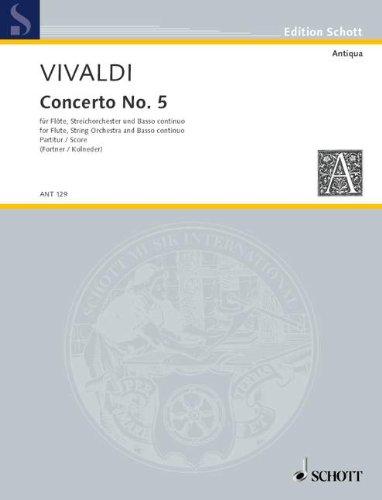 9780001004313: SCHOTT VIVALDI ANTONIO - CONCERTO NO 5 OP 10/5 RV 434/PV 262 Classical sheets Transverse Flute