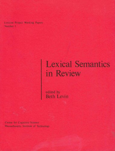 9780001013285: Lexical Semantics in Review (Lexicon Project Working Papers, Number 1)
