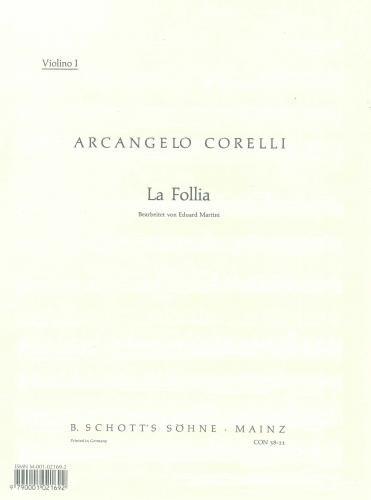 9780001021693: Corelli: La Folia Op 5/12 for String Orchestra Set of Parts