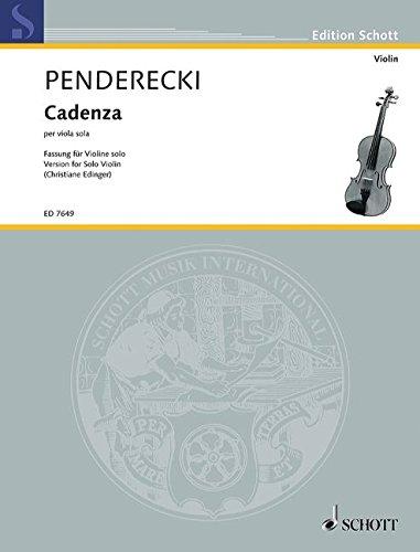 9780001079816: SCHOTT PENDERECKI - CADENZA PER VIOLA SOLO (VIOLON) Partition classique Cordes Violon