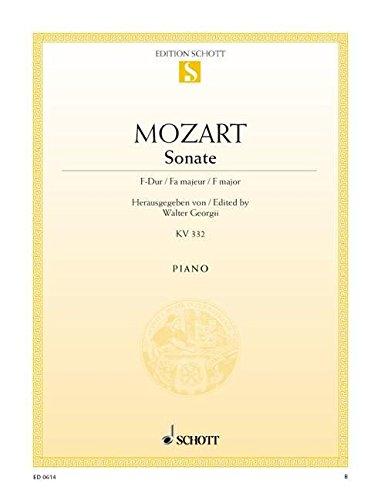 9780001086128: Sonate Fa majeur KV 332