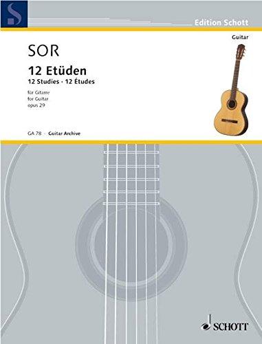 9780001095298: SCHOTT SOR FERNANDO - 12 ETUDES OP.29 GUITARE Educational books Acoustic guitar