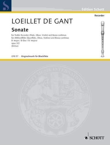 9780001099456: SCHOTT LOEILLET DE GANT J.B. - SONATA OP 3 - TREBLE RECORDER Classical sheets Recorder