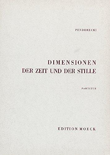 9780001147119: Dimensions du temps et du silence - pour choer mixte à quarante voix, groupes de perrcussion et cordes - choeur et orchestre - Partition - ED 20164