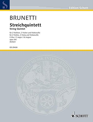 9780001153059: String Quintet Op. 3 No. 6 In C Major - Score And Parts