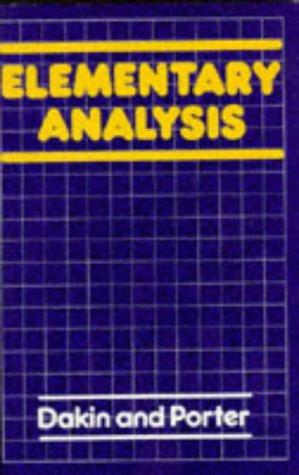 9780003222135: Elementary Analysis