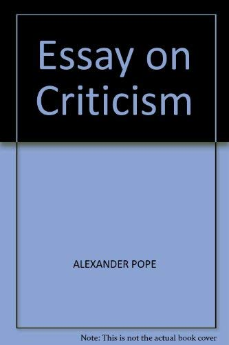 9780004603209: Essay on Criticism (Collins annotated student texts)