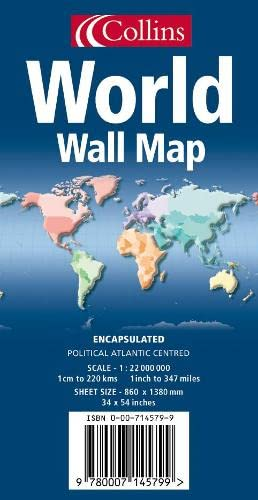 9780007145799: World Wall Map: Atlantic Centred: Political