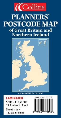 9780007179190: Planners' Postcode Area Map of Great Britain and Northern Ireland