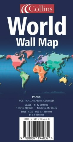 9780007194032: World Wall Map: Political, Atlantic Centred