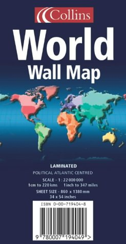 9780007194049: World Wall Map: Political, Atlantic Centred