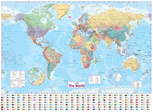 9780007259458: The World Wall Laminated Map: Political, Atlantic centred (Wall Map)