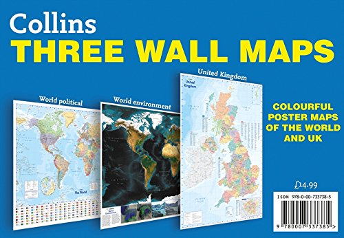 9780007337385: Collins Three Wall Maps: Colourful poster maps of the World and UK