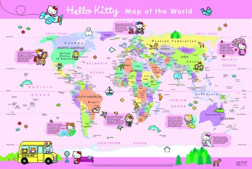 9780007508549: Hello Kitty Children's World Wall Map: With Free Stickers