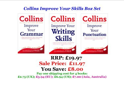 9780007874446: COLLINS IMPROVE YOUR SKILLS BOX SET ( Collins Improve Your Grammar | Collins Improve Your Writing | Collins Improve Your Punctuation ) (RRP: £19.97 SAVE: £8.00)