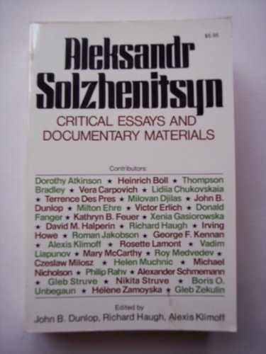 9780020505501: Alexander Solzhenitsyn: Critical Essays and Documentary Materials