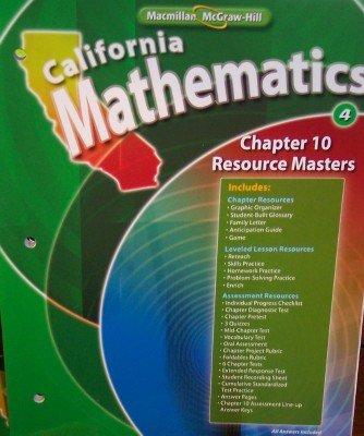 9780021058440: Chapter 10 Resource Masters Grade 4 (California Mathematics, Math Connects)