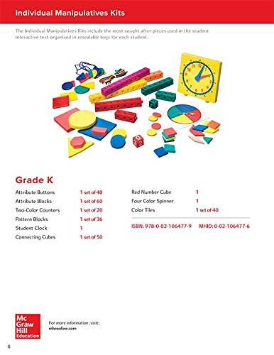 9780021064779: Math Connects, Grade K, Individual Manipulative Kit (ELEMENTARY MATH CONNECTS)