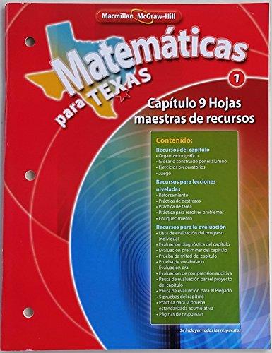 9780021065141: Matematicas para Texas 1 (Capitulo 9 Hojas maestras de recursos)