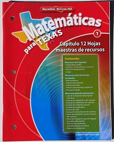 9780021065172: Matematicas para Texas 1 (Capitulo 12 Hojas maestras de recursos)